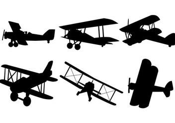 Biplane Silhouettes Free Vector Download 374961
