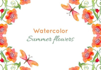 Free Vector Watercolor Poppies Background - vector #379045 gratis