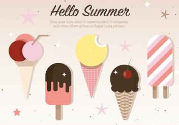 Free Flat Ice Cream Vector Illustration - Free vector #379125