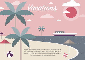 Free Vintage Summer Beach Vector Illustration - Kostenloses vector #379135