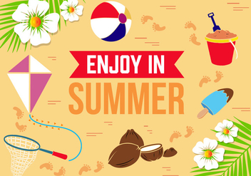 Free Flat Summer Vector Illustration - бесплатный vector #379175