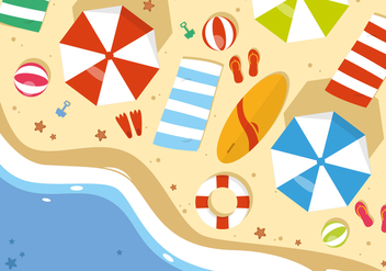 Free Summer Beach Vector Illustration - бесплатный vector #379215
