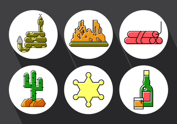 Set of Wild West Icons - Free vector #379365