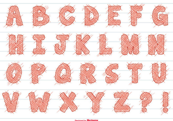 Cute Scribble Style Alphabet Set - бесплатный vector #379375