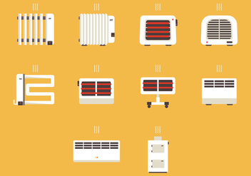 Heater Device Icon Set - vector #379395 gratis