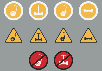 Segway Signs Icon Set - vector gratuit #379435