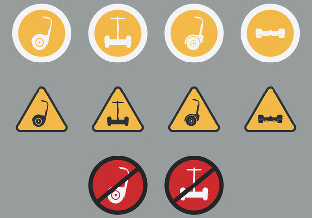 Segway Signs Icon Set - Kostenloses vector #379435