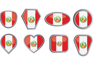 Free Peru Flag Icons Vector - бесплатный vector #379615
