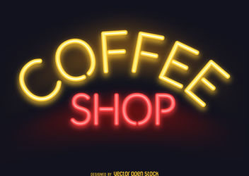 Neon coffee shop sign - vector gratuit #379795