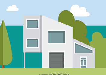 Modern house illustration - vector gratuit #379835