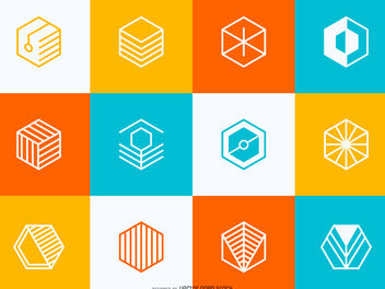 Geometric logo set - бесплатный vector #379875
