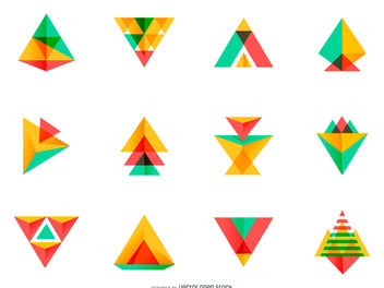 Bright triangle logo set - Free vector #379925