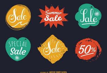 Summer sale stamp label set - Free vector #380005