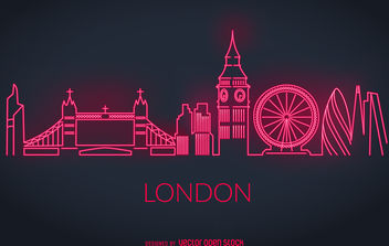 London neon skyline silhouette - vector gratuit #380075
