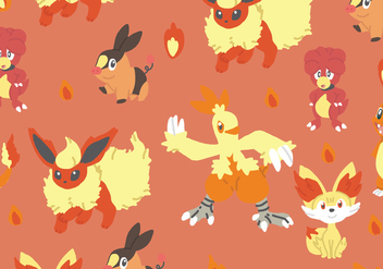 Fire Type Pokemon Pattern - vector gratuit #380335