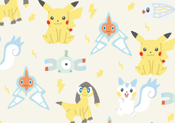Electric Type Pokemon Pattern - vector gratuit #380355