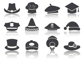 Free Black Hat Icons Vector - vector #380525 gratis