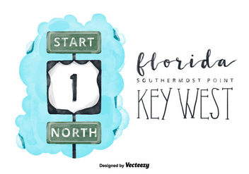 Free Florida Key Watercolor Vector - бесплатный vector #380645