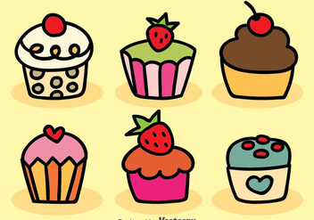 Cartoon Cupcake Vector - vector gratuit #380865