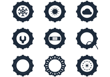 Tractor Tire Icons - vector gratuit #380905
