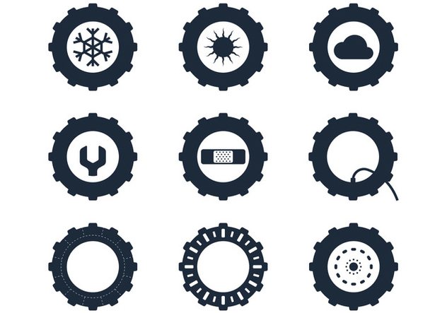 Tractor Tire Icons - Kostenloses vector #380905
