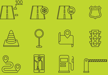 Street And Highway Icons - vector gratuit #381035