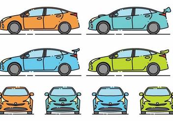 Minimlaist Prius Icon Set - Free vector #381265