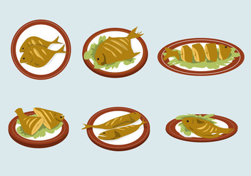 Delicious Fish Fry Vector - vector gratuit #381505