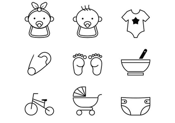 Baby Line Icons - vector gratuit #381525