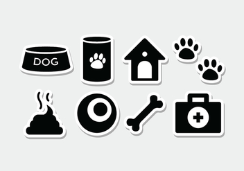 Free Dog Sticker Icon Set - vector gratuit #381725