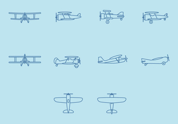 Biplane Icon Set - vector #381815 gratis