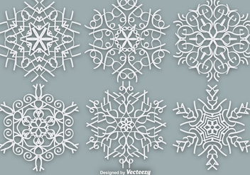 White Ornate Snowflakes - Vector Elements - Free vector #381845