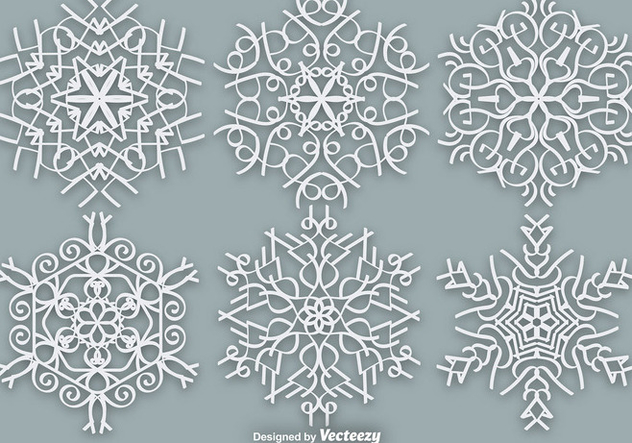 White Ornate Snowflakes - Vector Elements - vector #381845 gratis