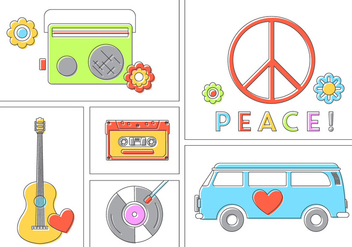 Hippie Vector Set - Free vector #382145