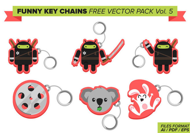 Funny Key Chains Free Vector Pack Vol. 5 - Kostenloses vector #382225
