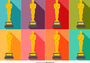 Vector Colorful Set Of Oscar Statue Icons - vector gratuit #382235