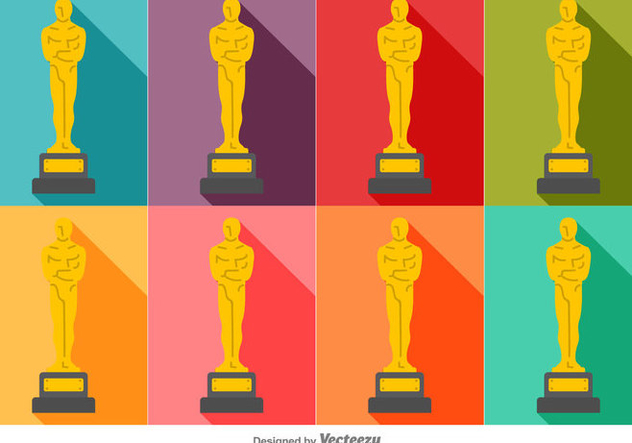 Vector Colorful Set Of Oscar Statue Icons - Free vector #382235