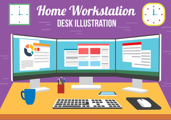 Free Vector Multi Screen Desk - vector gratuit #382515