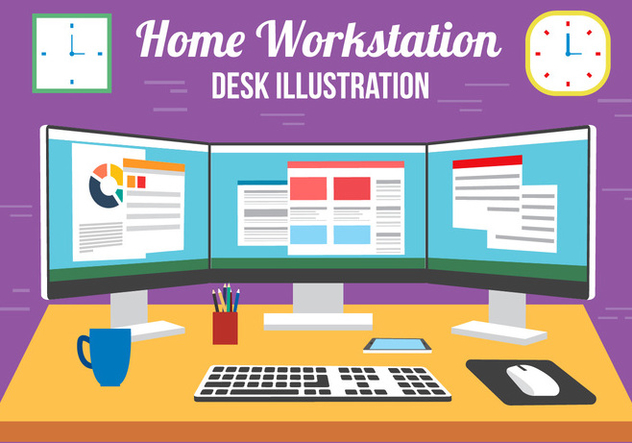 Free Vector Multi Screen Desk - бесплатный vector #382515