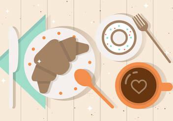 Free Flat Breakfast Vector Illustration - vector gratuit #382575