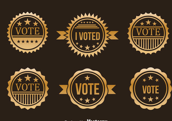 Presidential Election Gold Badge Vector Set - Free vector #382615