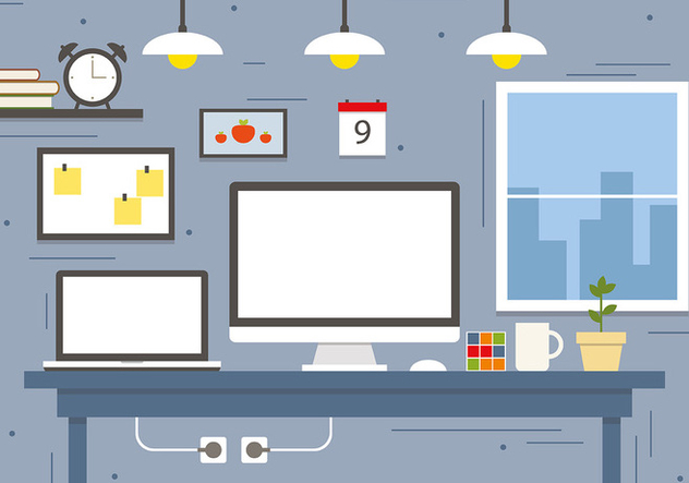 Modern Business Workspace Concept Vector Illustration - Kostenloses vector #382755