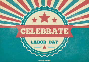 Retro Sunburst Labor Day Illustration - vector gratuit #382855