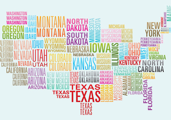 USA Word Map - vector gratuit #382915