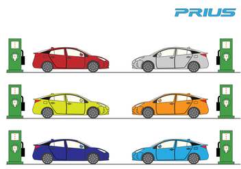 Prius Car Vector Set - Free vector #382995