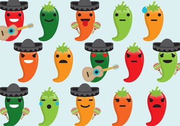 Chili Mariachi Emoticons - vector gratuit #383005