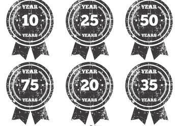 Grunge Anniversary Badges - Free vector #383085