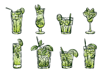 Hand Drawn Caipirinha Vectors - бесплатный vector #383135
