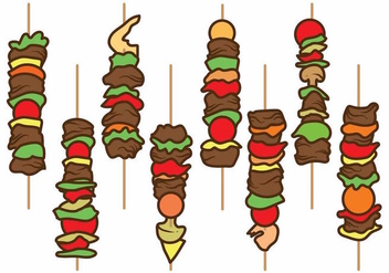 Flat Brochette Illustration Set - vector gratuit #383425