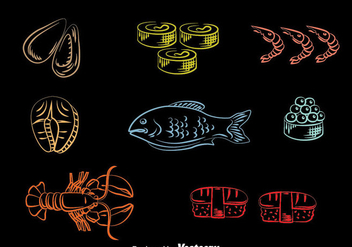 Seafood Line Icons Vector - vector gratuit #383705